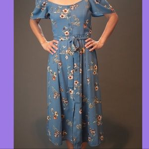 Floral Blue Summer Midi Dress